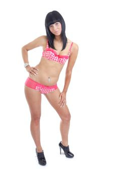 Free Young Dark Haired Girl In Pink Lingerie Royalty Free Stock Images - 15756619