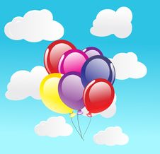 Free Vector Background With Balloons Royalty Free Stock Photo - 15756695