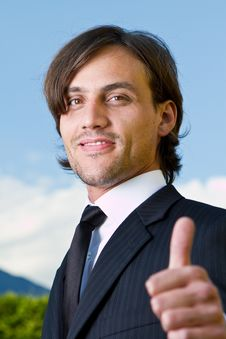 Free Thumbs Up Over Blue Skies Royalty Free Stock Photos - 15757918