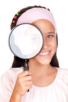Free Little Girl With A Large Magnifying Glass Stock Image - 15758281