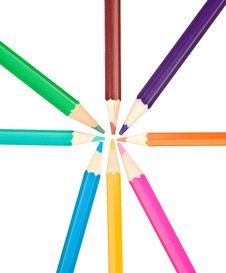 Colored Pencils Arranged In A Star Shape Royalty Free Stock Images