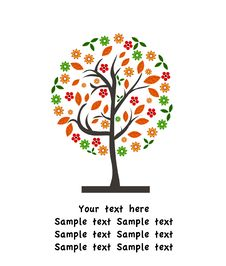 Free Vector Autumn Background With Tree Stock Photos - 15758533