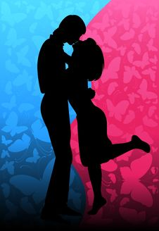 Free Silhouette Of Lovers Royalty Free Stock Photography - 15758847