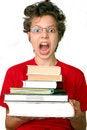 Free Shocked Boy With Set Of Books Stock Photo - 15761590