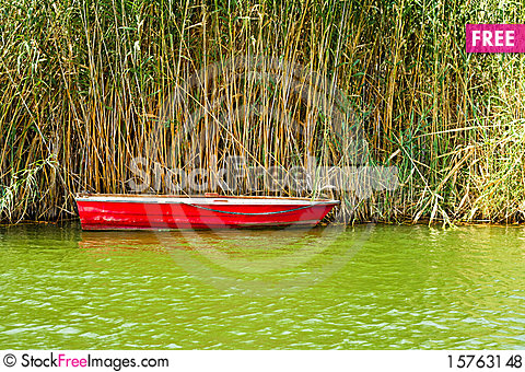 Red Fishing Boat Stock Photo
