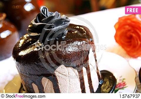 Chocolate rose on a cake Stock Photo