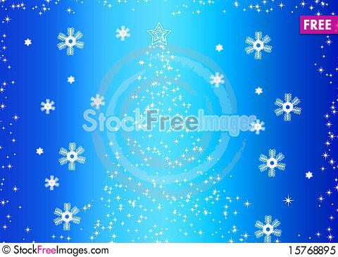Abstract fir tree and snowflakes Stock Photo