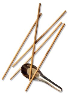 Isolated Of Chopstick And Spoon Stock Photos
