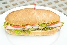 Turkey Sandwich On A White Plate Stock Image