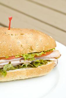 Turkey Sandwich On A White Plate Stock Photos