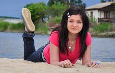 Free Relaxing Girl On The Beach Royalty Free Stock Images - 15761779