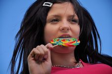 Free Girl With Lollipop Stock Image - 15761911
