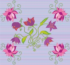 Free Lotus Flowers In Corners Royalty Free Stock Photography - 15762247