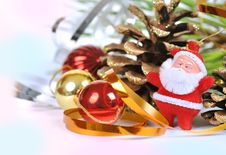 Santa Near The Christmas Tree And Balls Stock Image