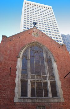 Old Church And Modern Building. Royalty Free Stock Photos