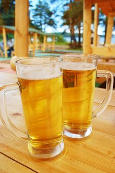 Two Beer Mugs. Royalty Free Stock Images
