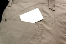 White Card In Pocket Royalty Free Stock Image