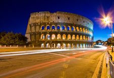 Free Colosseum In Twilight With Light Trail Royalty Free Stock Images - 15766059