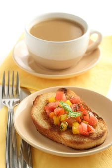 Free Bruschetta With Salsa And A Cup Of Coffee Stock Image - 15766111