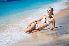 Free Beautiful Model Relaxing On A Beach Stock Photo - 15766960