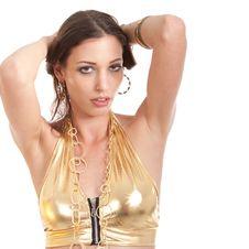 Free Young Sexy Bikini Model In Gold Stock Image - 15767731