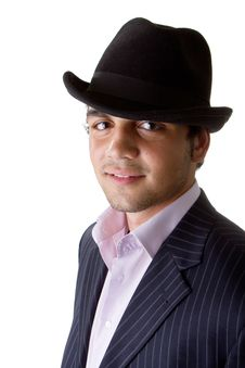 Young Stylish Businessman With Hat Stock Photography