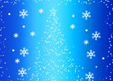 Abstract Fir Tree And Snowflakes Royalty Free Stock Photo