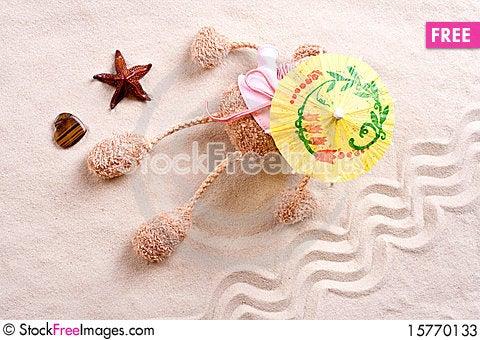 Free Plush Toy Under The Beach Umbrella Stock Photos - 15770133