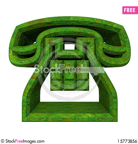 Phone symbol in grass - 3D Stock Photo