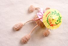 Plush Toy Under The Beach Umbrella Stock Photos