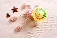 Free Plush Toy Under The Beach Umbrella Stock Photos - 15770133