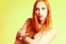 Beautiful Half-naked Girl Girl In Studio Royalty Free Stock Images
