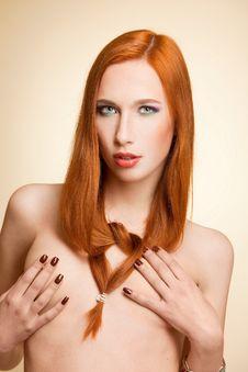 Beautiful Half-naked Girl Girl In Studio Stock Photo