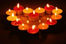 Free Candles In Form Of Heart Royalty Free Stock Image - 15770736