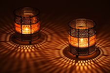 Free Two Old-style Candlesticks With  Flaming Candle Royalty Free Stock Images - 15770739