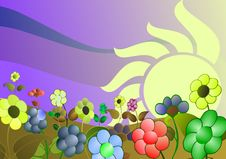 Free Colorful Stylized Meadow With Flowers Stock Photos - 15772263