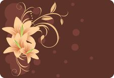 Free Lilies With Ornament. Decorative Background Stock Image - 15773481