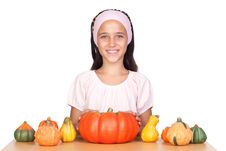 Happy Girl In Halloween With A Many Pumpkins Royalty Free Stock Images