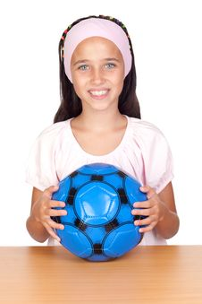 Free Adorable Little Girl With Soccer Ball Stock Photos - 15774113