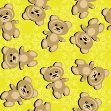 Free Seamless Background With Teddy Bears Royalty Free Stock Photography - 15774147