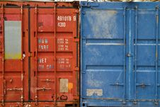 Container Blue And Red Royalty Free Stock Photos