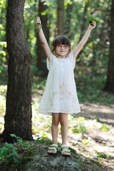 Free Nice Toddler Girl With Hands Up Royalty Free Stock Images - 15775469