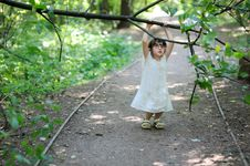 Nice Toddler Girl In The Summer Forest