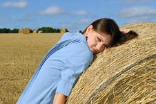 Free Young Woman Near The Straw Bales Royalty Free Stock Photos - 15776478