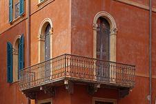 Free Verona, Facade Detail With Balcony, Veneto, Italy Royalty Free Stock Image - 15776856