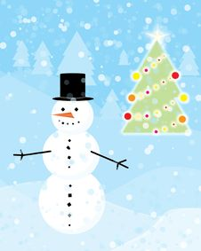 Snowman And Christmas Tree Royalty Free Stock Images
