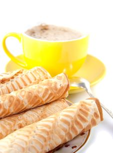 Free Wafers With Coffee Stock Photography - 15778982