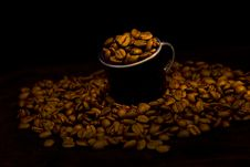 Free Dark Cup With Coffee Beans Stock Photos - 15779143
