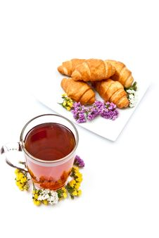 Free Tea And Croissants Stock Images - 15779694