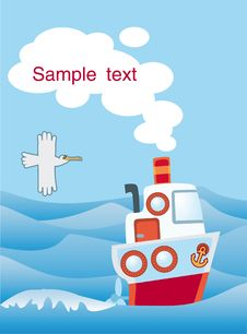 Free Little Toy-ship With A Gull Stock Images - 15780144